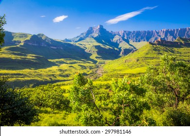 Panoramic view of the Drakensberg National Park in Kwazulu Natal