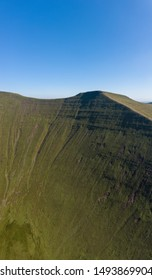 Panoramic view of the dramatic peaks of Pen-y-Fan mountain in the Brecon Beacons on South Wales