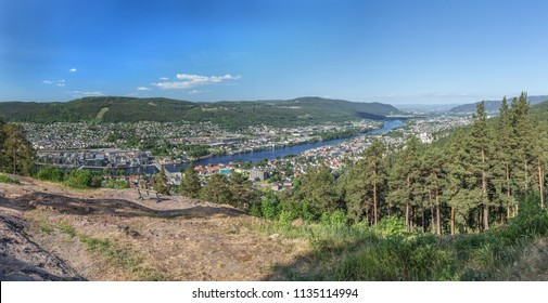 Panoramic view of Drammen taken from Spiraltoppen