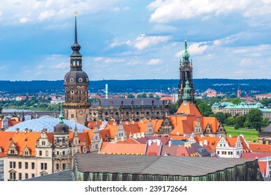 Panoramic view of Dresden in a beautiful summer day