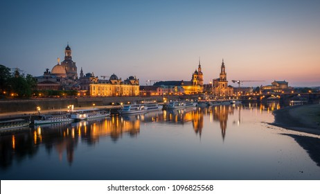 Panoramic view of Dresden Old town and Elbe river taken from Carolabrucke