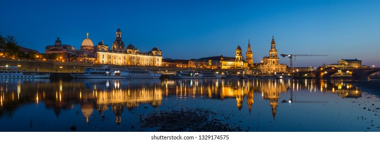 Panoramic view of Dresden Old town and Elbe river taken from riverside, Dresden, Germany, 30th April 2018