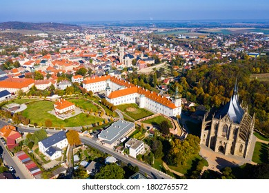 Panoramic view from drone of Czech town of Kutna Hora overlooking medieval Jesuit College and St. Barbara Cathedral on sunny autumn day, Central Bohemian Region.. - Shutterstock ID 1802765572
