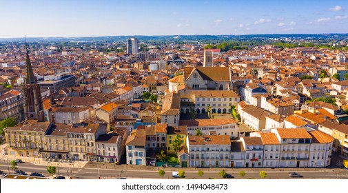 Panoramic view from the drone on the city Agen. France