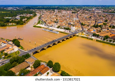 Panoramic view from the drone on the city Libourne. Confluence of the river Ile and Dordogne. France