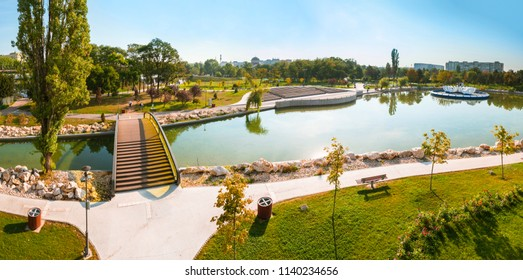 Panoramic view of Drumul Taberei Park, also known as Moghioros Park, in Bucharest Romania, in a sunny autumn day.