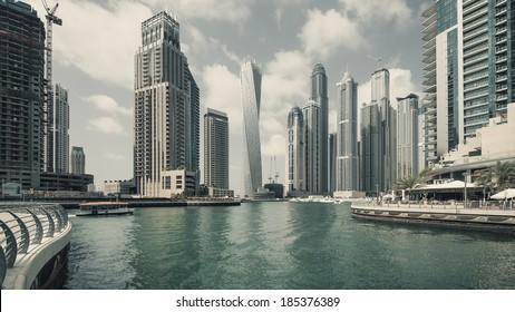 Panoramic view of Dubai Marina. Dubai Marina is an artificial 3 km canal carved along the Persian Gulf shoreline.