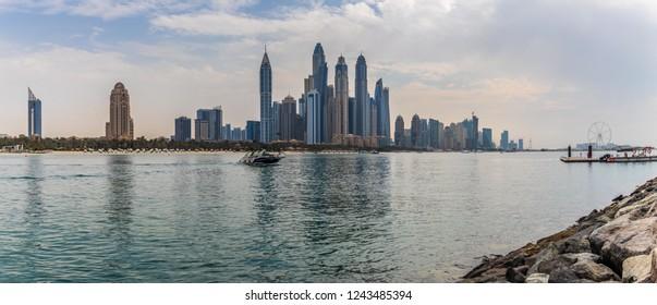 Panoramic View of Dubai Marina Skyline from Palm Jumeirah. Dubai - UAE. 19 October 2018.