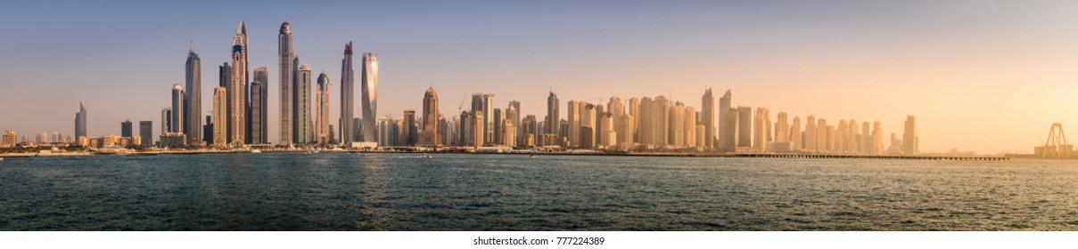 Panoramic view of Dubai Marina skyline in 2016
