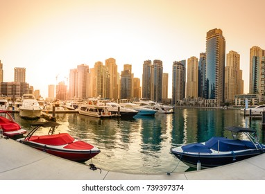 Panoramic view of Dubai Marina in UAE in the evening