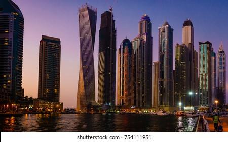 Panoramic view of Dubai Marina in UAE at night