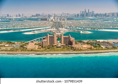 Panoramic view of Dubai from Palm Island, UAE