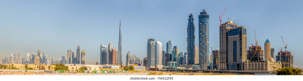 Panoramic view of Dubai's downtown skyline in January of 2016