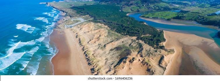 Panoramic view of Dunas of Liencres Natural Park, Liencres village, Pielagos Municipality, Cantabrian Sea, Cantabria Autonomous Community, Spain, Europe