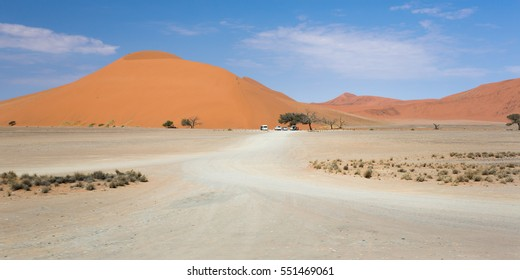 panoramic view of the dune 45 before reaching its base and before climb it to the top with wonderful views, sossusvlei, namibia