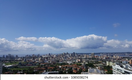 Panoramic view of Durban towards sea and port.