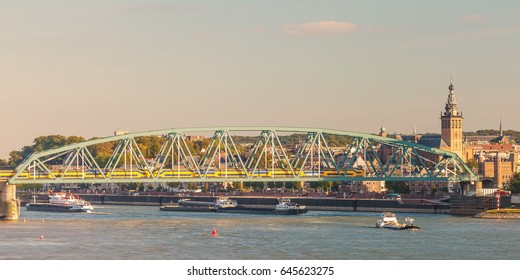Panoramic view of the Dutch city of Nijmegen with the river Waal in front