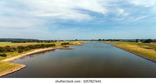 Panoramic view of the Dutch river Nederrijn near Doorwerth and Heteren