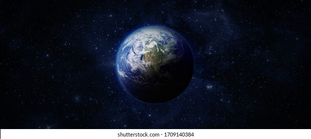 Panoramic view of the Earth, Nebula and Space. Western hemisphere. Space, nebula and planet Earth. This image elements furnished by NASA.