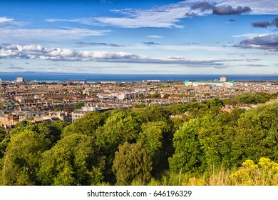 Panoramic view of Edinburgh - the capital of Scotland taken from Calton Hill and Arthur's Seat. UK