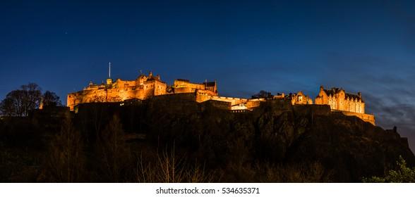 Panoramic view of Edinburgh Castle at dusk. Scotland, UK