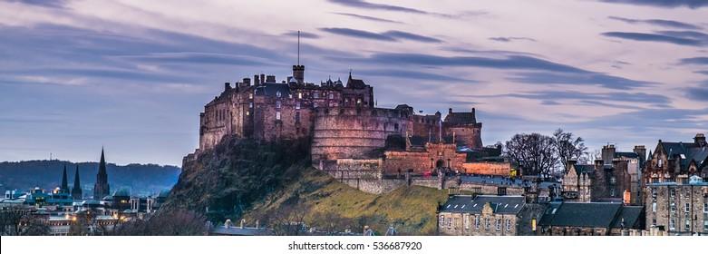 Panoramic view of Edinburgh Castle at sunset. Scotland, UK