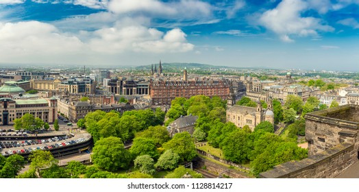 Panoramic view of Edinburgh skyline as seen from Edinburgh Castle, Scotland