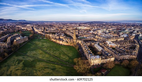 Panoramic view of Edinburgh's skyline with the Barclay Church in the middle and the Bruntsfield Links in the foreground. Scotland, UK