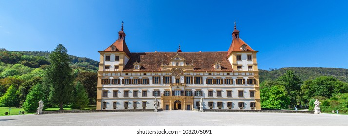 Panoramic view of Eggenberg Palace and garden in Graz, Styria region of Austria.