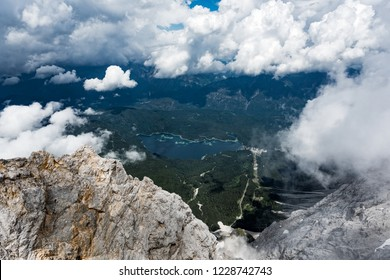 Panoramic view of Eibsee lake from Zugspitze, the highest mountain of the Bavarian Alps, home to three glaciers and Germany's highest ski resort.