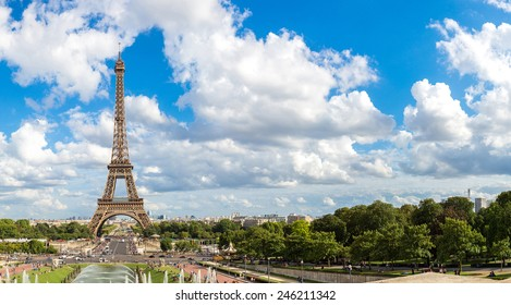 Panoramic view of Eiffel Tower most visited monument in France and the most famous symbol of Paris