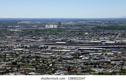 Panoramic view of El Paso, Texas, USA, towards Mexico
