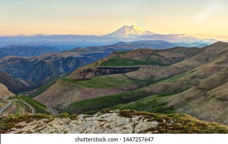 Panoramic view of Elbrus mountain.