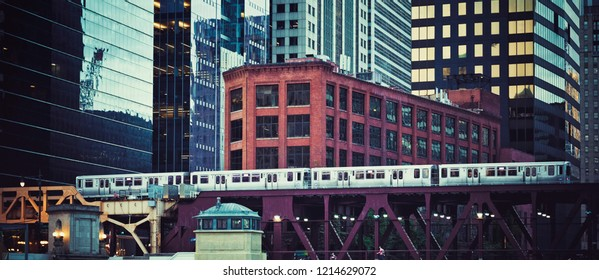 Panoramic view of elevated railway train in Chicago, USA.
