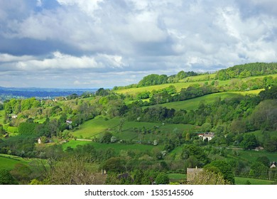 Panoramic view from Elliots Swift's Hill Nature Reserve of the Slad valley (SSSI) looking over the Stroud Valley towards Stroud, The Cotswolds, Gloucestershire, UK