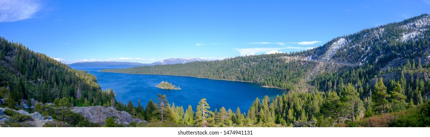 Panoramic view of Emerald bay on a late summer afternoon.