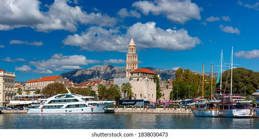Panoramic view of Emperor Diocletian Palace and bustling waterfront Rive in Split, Croatia