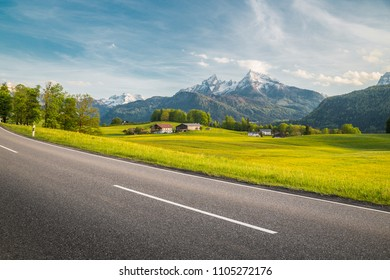 Panoramic view of empty country road leading through beautiful alpine mountain scenery with fresh green meadows full of blooming flowers in springtime