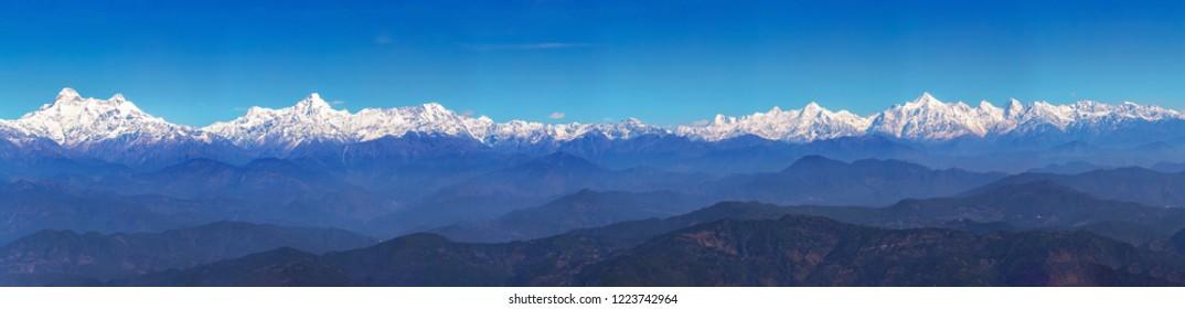 Panoramic view of entire Kumaon Himalaya range notable peaks being Trishul, Nanda Devi, Nanda Kot,  Panchuli as seen from Binsar Uttarakhand.