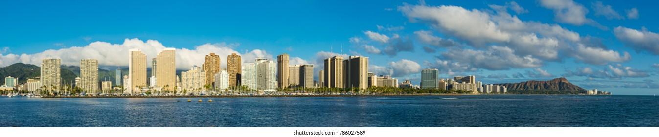Panoramic view of entire waikiki beach in Hawaii