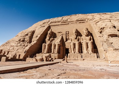 Panoramic view with the entrance to Abu Simbel Great Temple in Aswan Egypt