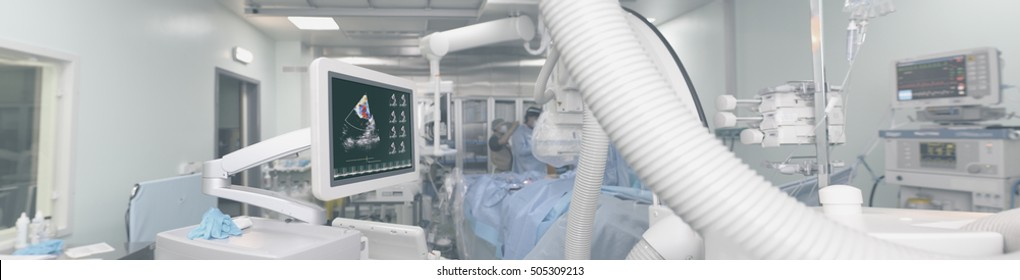 Panoramic view of the equipment in the cathlab.