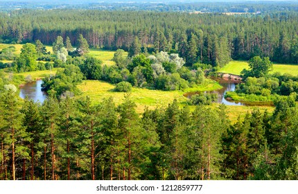 Panoramic view of Estonian landscape in summer.