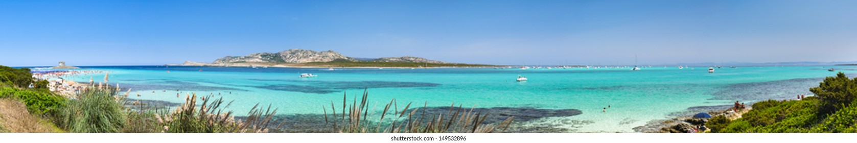 Panoramic view of European most beautiful beach La Pelosa in Sardinia
