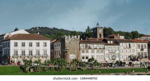Panoramic view of the facade of houses in Ponte de Lima medieval village, Portugal