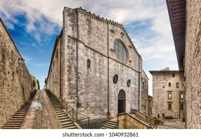 Panoramic view with facade of the medieval Cathedral of Gubbio, one of the most beautiful medieval towns in central Italy
