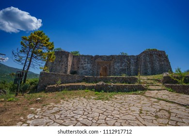 panoramic view of the famous Ali Pascha Castle. Built on a high hill above Anthousa overloking the entire bay of Parga, the ruins of Ali Pasha castle is located 5.5 km away from Parga, Greece