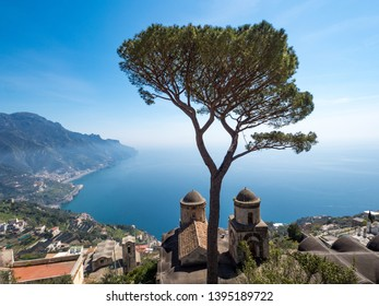 Panoramic view of famous Amalfi Coast with Gulf of Salerno from Villa Rufolo gardens in Ravello, Campania, Italy. April, 2019