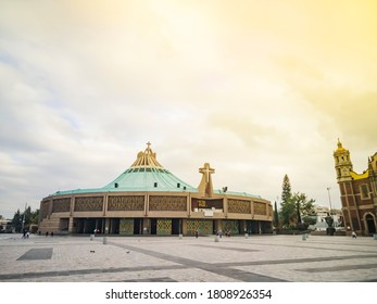 Panoramic view of the famous Basilica of Guadalupe on a quiet morning without people
