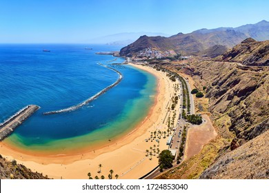 Panoramic view of famous beach Playa de las Teresitas near Santa Cruz de Tenerife from Mirador,Tenerife, Canary Islands, Spain